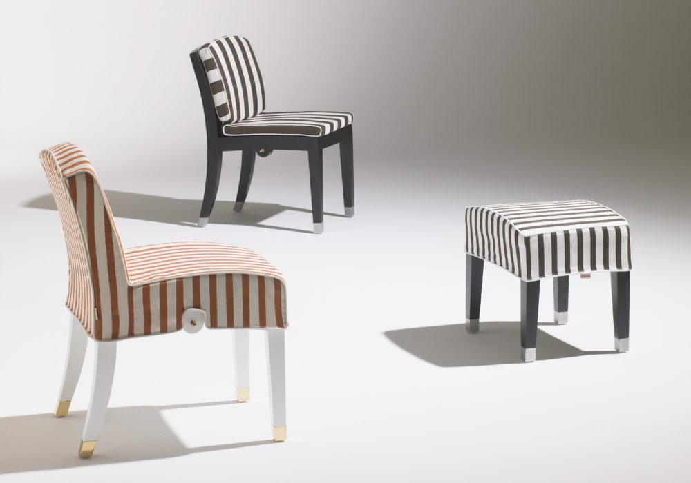 Pouf à rayure design / Café Marly / Designer Olivier Gagnère / Éditeur SOCA
