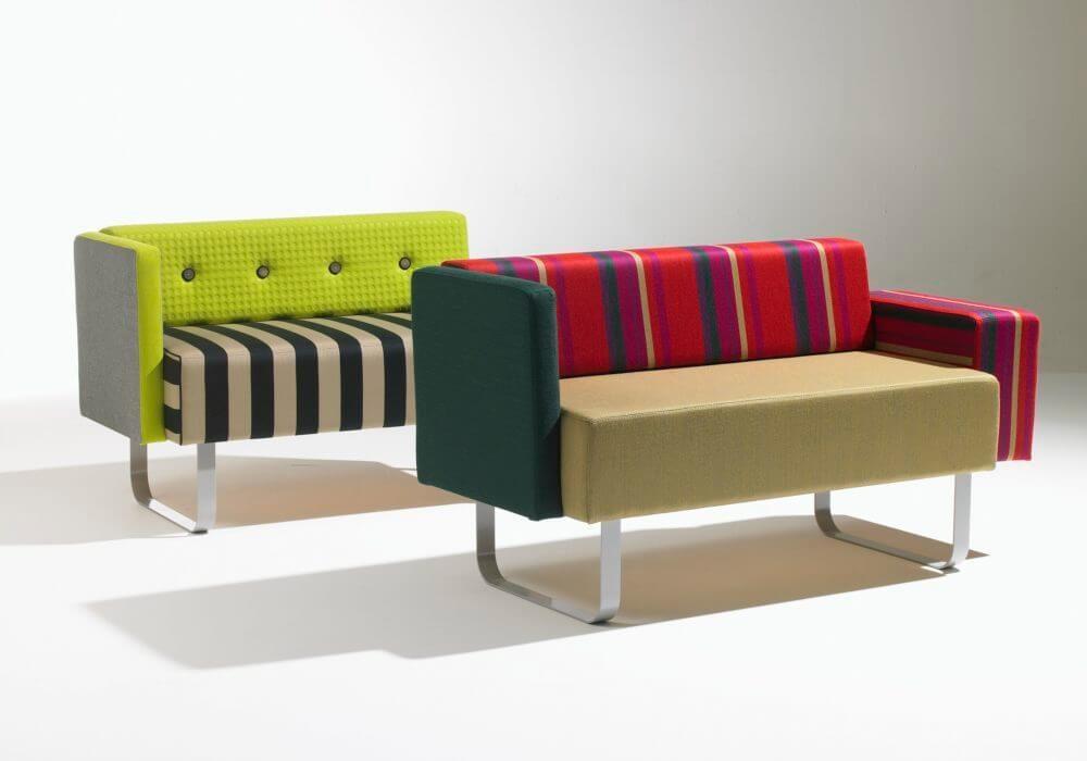 Banquettes Benchmobil / Canapés Design / Tissu à motifs, rayures / Multicolore / Original contemporain / Editeur Soca
