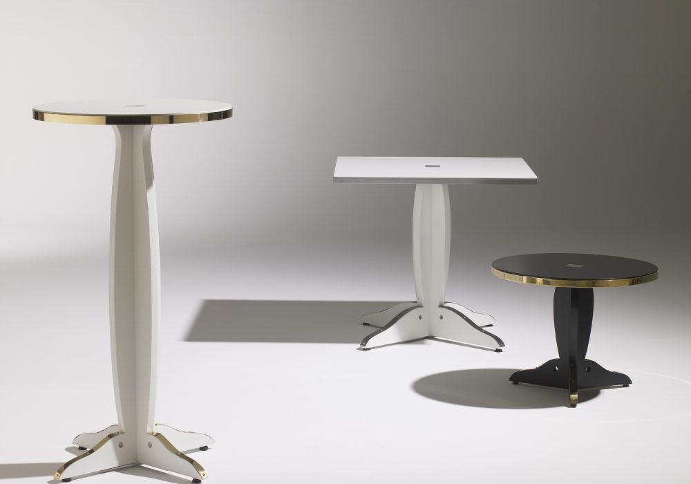 Collection Guéridons Marly / Café marly / tables café design / piétement central / cerclage laiton / Designer Olivier Gagnère / Éditeur SOCA