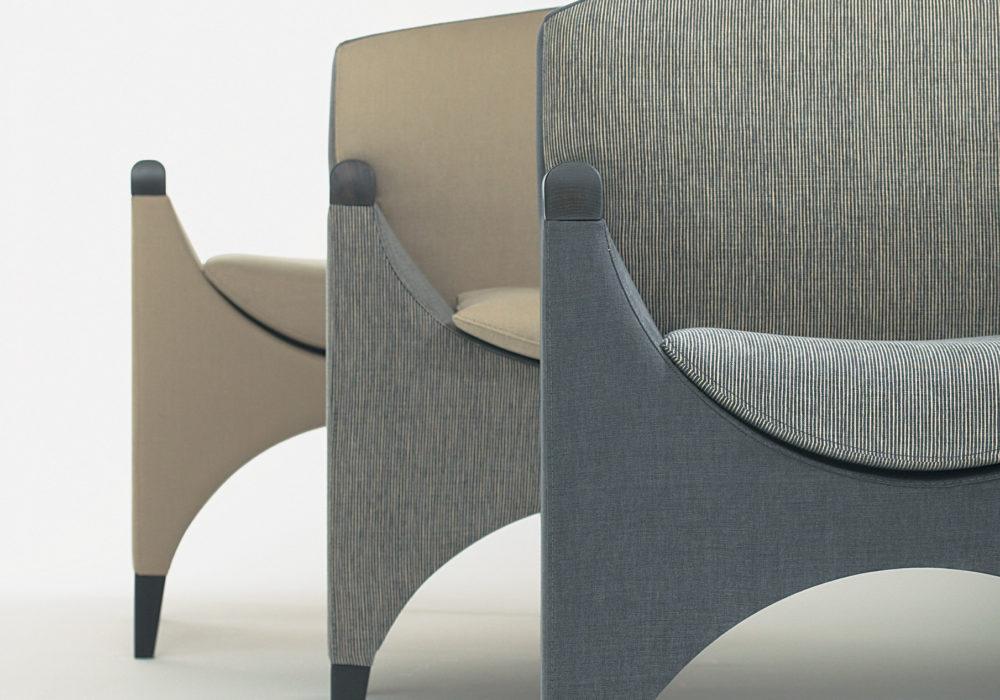Fauteuils design contemporains / tissu gris ou beige / accoudoirs / Designer Olivier Gagnère / Éditeur SOCA