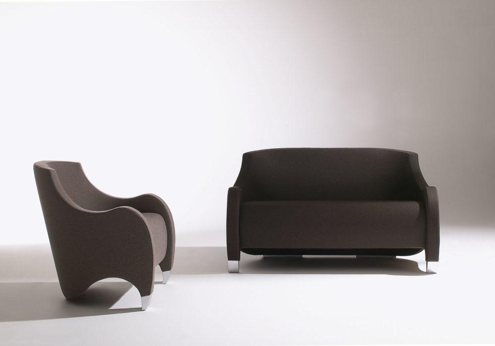 Canapé et fauteuil design moderne noir George Karam Soca