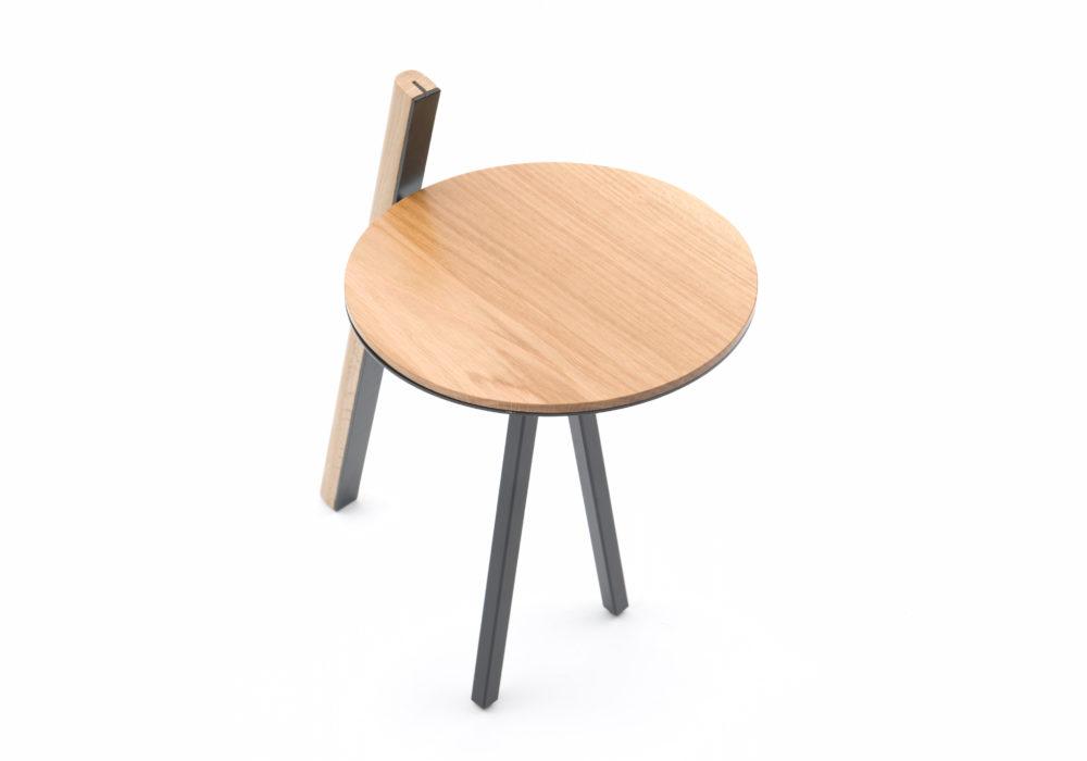 Tablette Orion / plateau bois / piétement métallique noir / Design Thierry D'Istaria / Editeur SOCA