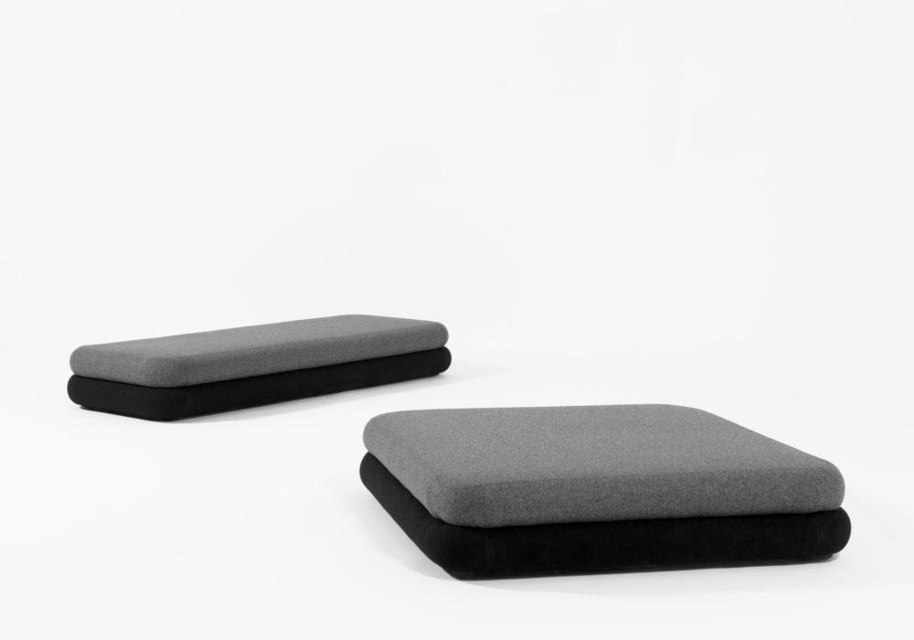 Banquette Dérivée Partielle / Tissu gris et noir / design contemporain moderne / Design Thierry D'Istria / Editeur SOCA