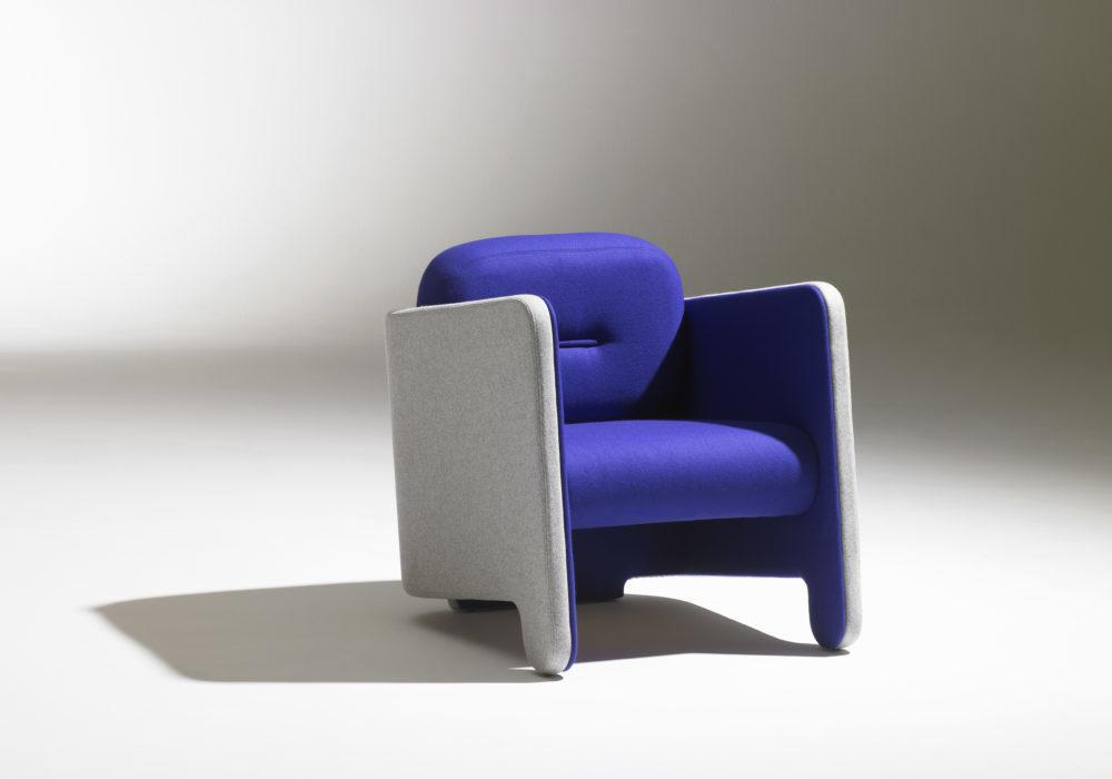 Fauteuil Frizz / Design contemporain / Tissu bleu et gris chiné / Design Thierry D'Istria / Editeur Soca