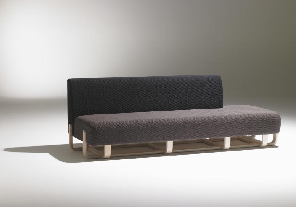 Banquette méridienne design grise et noir / piétement en bois / Designer Thierry D'Istria / Éditeur Soca / contemporain