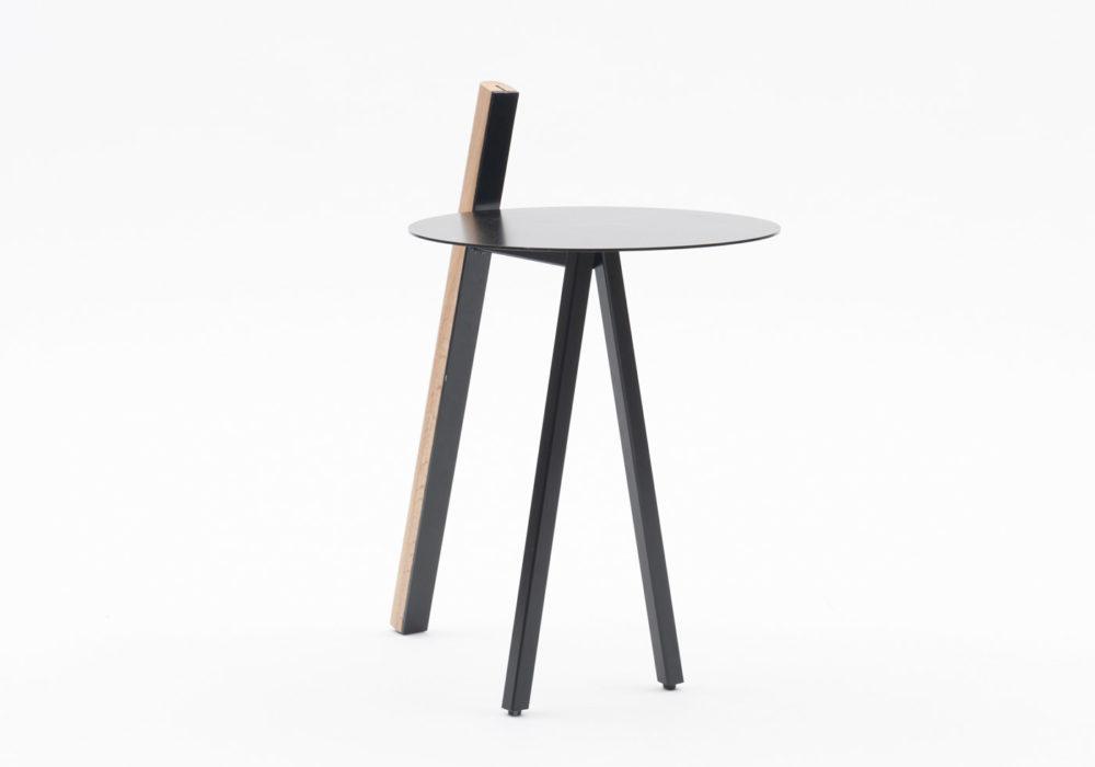 Tablette Orion / plateau et piétement métallique noir / Design Thierry D'Istaria / Editeur SOCA