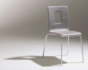Chaise design restaurant cafétéria grise métal Thierry D'Istria Soca