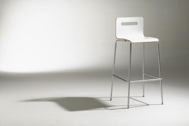Chaise haute design blanche métal Thierry D'Istria Soca