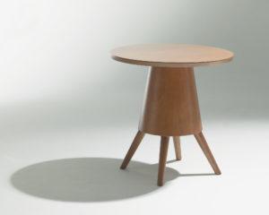 Guéridon Karla Mazoo Table d'appoint design bois 4 pieds plateau rond Philippe Soffiotti Jérôme Gauthier