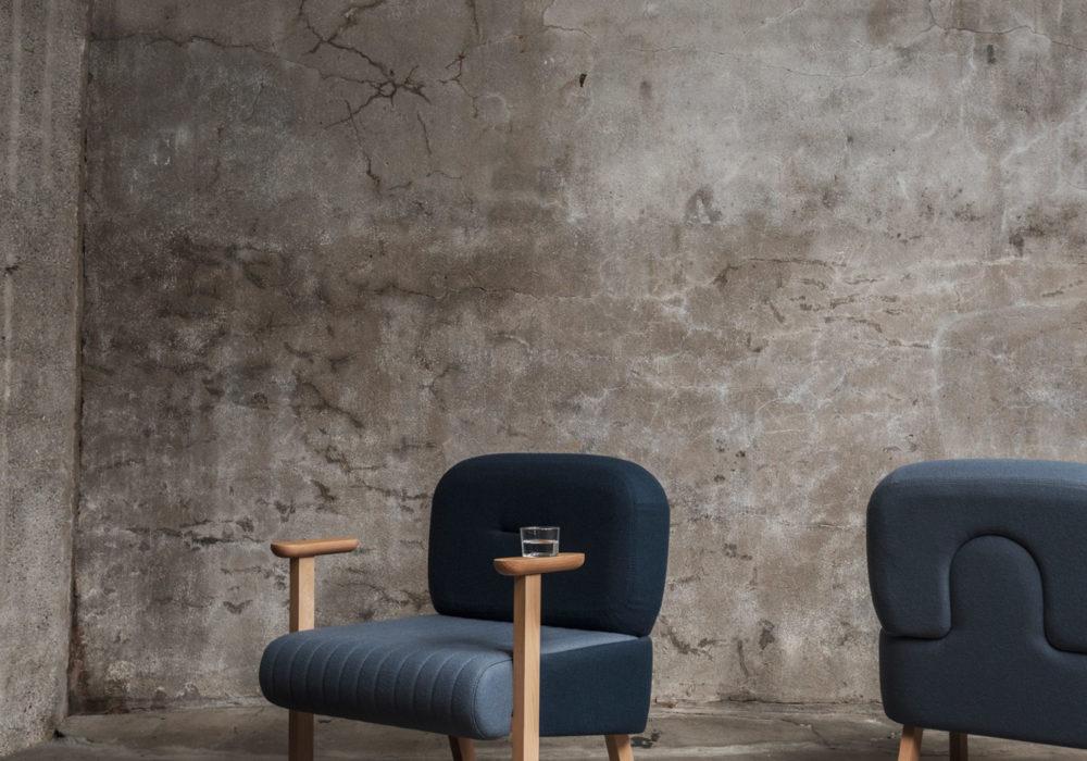 Mobilier contemporain fauteuil laine Soca