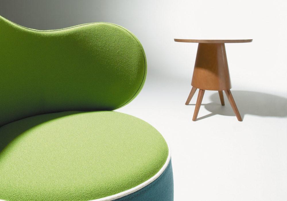 Chauffeuse Karla Mazoo vert bleu Guéridon Table d'appoint design bois 4 pieds plateau rond Philippe Soffiotti Jérôme Gauthier
