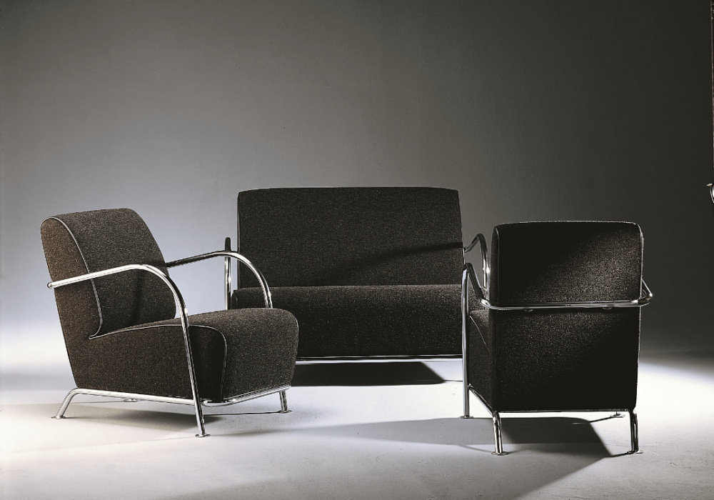Ensemble de fauteuil design art déco noir argent SOCA Thibault Desombre