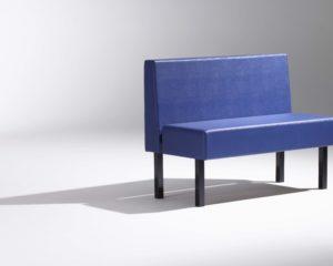 Banquette restaurant bleu soca design sur-mesure