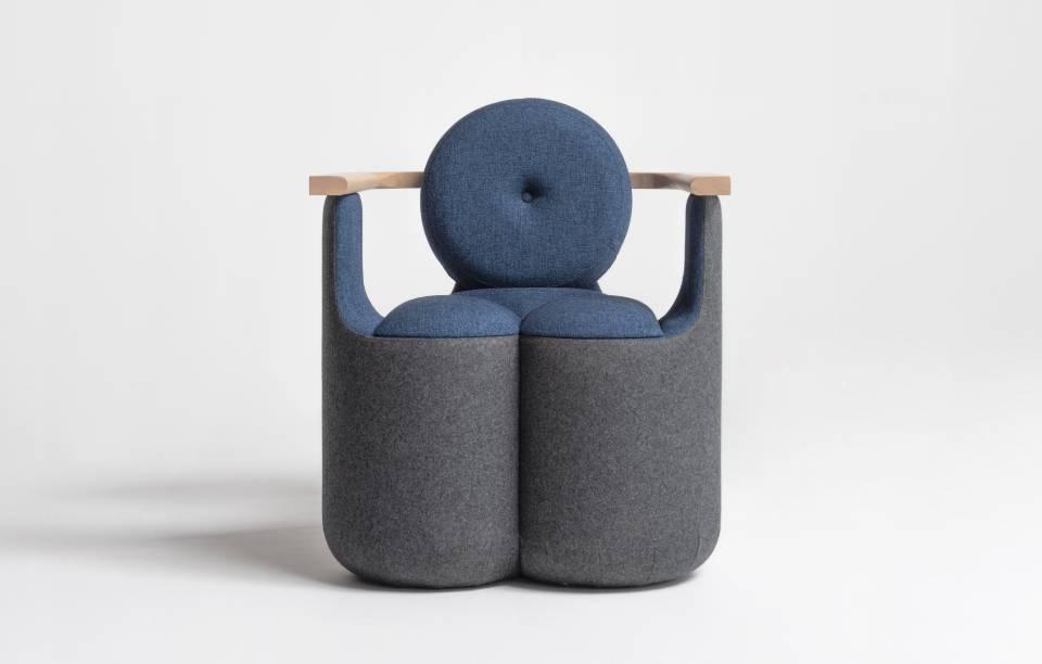 Gros fauteuil design Bleu et bois - Fauteuil Skane - design Thierry D'Istria