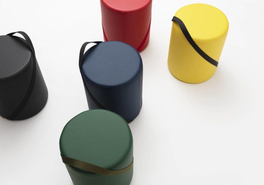 Petit pouf rond cuir coloré - Argos - 40 cm