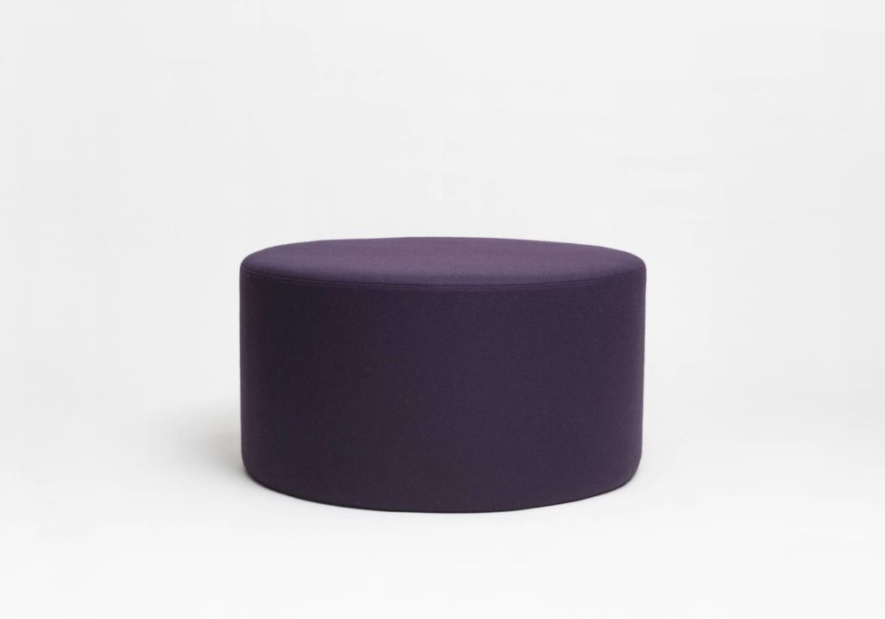 Grand pouf rond laine prune - Argos - 90cm
