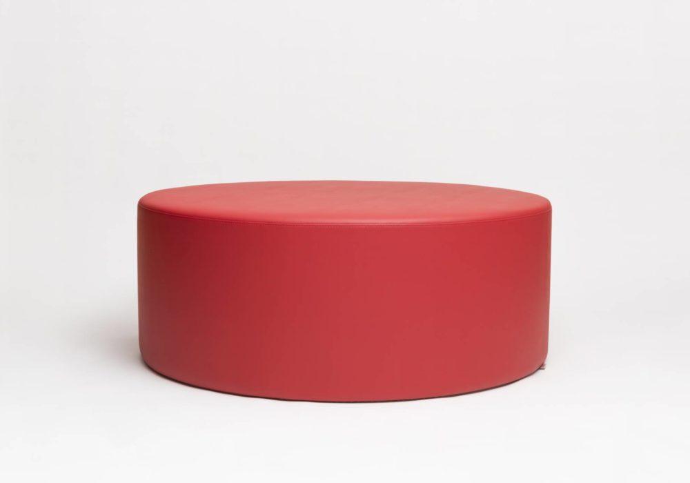 Grand pouf rond cuir rouge - Argos - 120cm